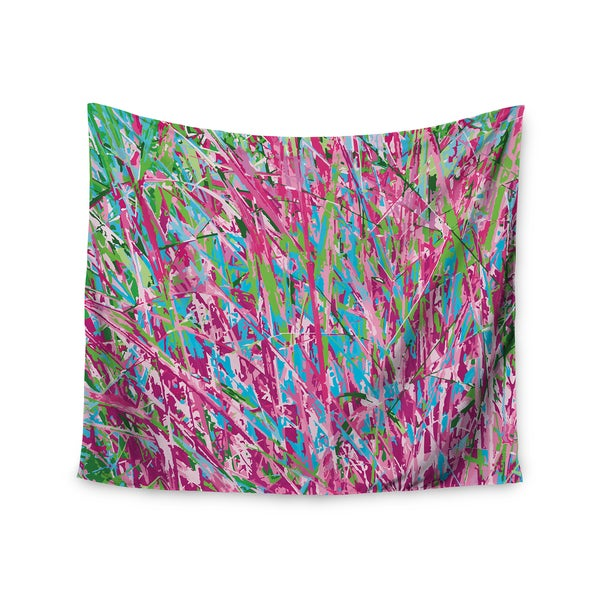 Kess InHouse Empire Ruhl 'Spring Grass Abstract' Pink and Teal Polyester Wall Tapestry