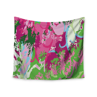 Kess InHouse Empire Ruhl 'Spring Frolic Abstract' Teal/Green Polyester Wall Tapestry