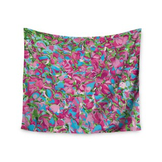 Kess InHouse Empire Ruhl 'Abstract Spring Petals' Pink/Teal Polyester Wall Tapestry