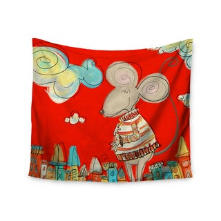Kess InHouse Carina Povarchik 'Urban Mouse - Red' Teal and Yellow Polyester Wall Tapestry
