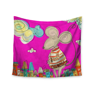 Kess InHouse Carina Povarchik 'Urban Mouse - Magenta' Pink/Yellow Polyester Wall Tapestry