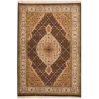 Handmade Herat Oriental Indo Tabriz Wool & Silk Rug (India) - 2'10 x 4'1
