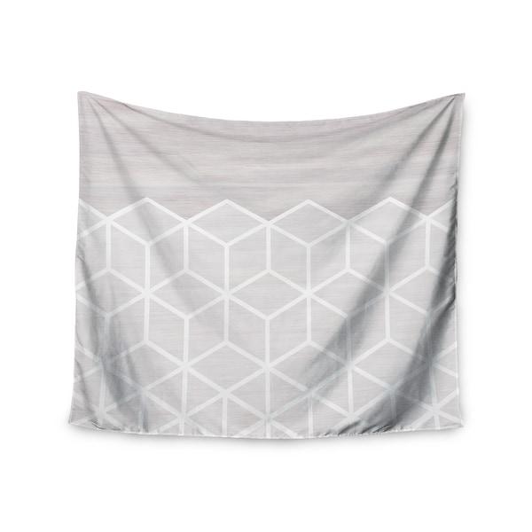 Kess InHouse Draper 'Geo White Woodgrain' Grey/White Polyester Wall Tapestry