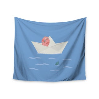 Kess InHouse Cristina Bianco Design 'Cat and Paper Boat' Pink and Blue Wall Tapestry