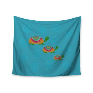 Kess InHouse Cristina Bianco Design 'The Turtles' Teal/Orange Polyester Wall Tapestry