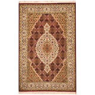 Herat Oriental Indo Hand-knotted Tabriz Wool & Silk Rug (2'8 x 4')
