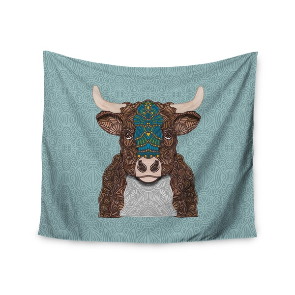 "Kess InHouse Art Love Passion ""Bennie - The Bull"" Teal Brown Wall Tapestry"