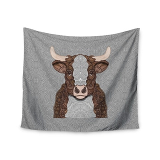 """Kess InHouse Art Love Passion """"Gustaf The Bull"""" Brown Gray Wall Tapestry"""