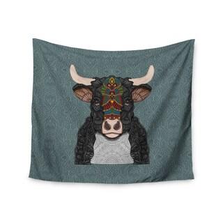 "Kess InHouse Art Love Passion ""Steve The Bull"" Gray Brown Wall Tapestry"