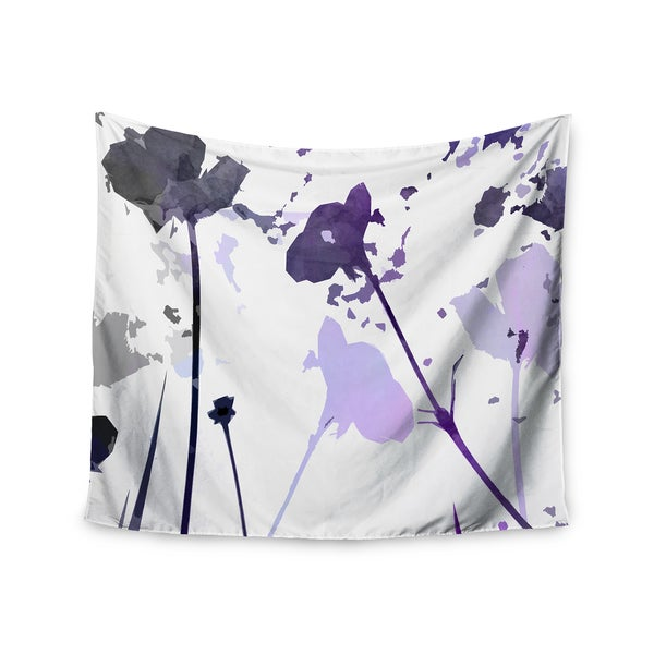 "Kess InHouse Alison Coxon ""Poppies Indigo"" Purple Black Wall Tapestry"