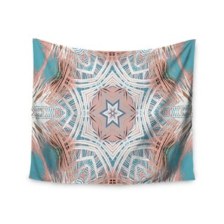 Kess InHouse Alison Coxon 'Tribe Coral And Teal' Blue and White Polyester Wall Tapestry