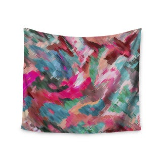 "Kess InHouse Alison Coxon ""Giverny Pink"" Teal Peach Wall Tapestry"