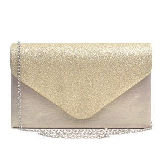 Dasein Glitter Frosted Evening Clutch with Removable Chain Strap (Option: Gold)