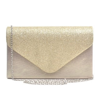 Dasein Glitter Frosted Evening Clutch with Removable Chain Strap (Option: Ivory)