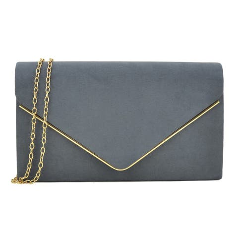 Dasein Gold Polished Frame Velvety Clutch with Removable Chain Strap