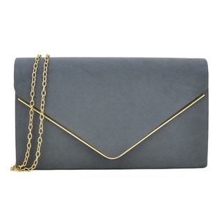 Dasein Velvety Clutch with Removable Chain Strap and Gold Polished Frame Clasp Closure