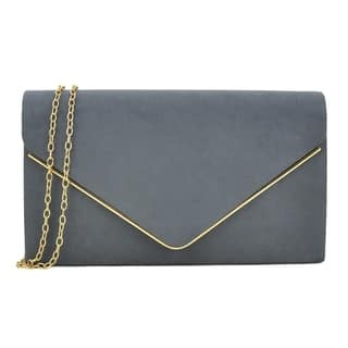 Dasein Velvety Clutch with Removable Chain Strap and Gold Polished Frame Clasp Closure|https://ak1.ostkcdn.com/images/products/13084356/P19818756.jpg?impolicy=medium