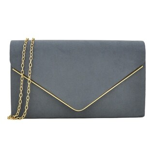 Dasein Velvety Clutch with Removable Chain Strap and Gold Polished Frame Clasp Closure (More options available)