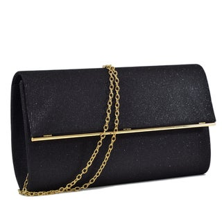 Dasein Glitter Frosted Evening Clutch with Removable Chain Strap and Polished Goldtone Frame Clasp Closure (Option: Black)