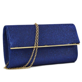 Dasein Glitter Frosted Evening Clutch with Removable Chain Strap and Polished Goldtone Frame Clasp Closure