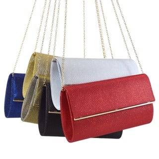 Dasein Glitter Frosted Evening Clutch with Removable Chain Strap and Polished Gold Frame Clasp Closure