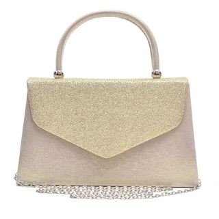 Dasein Glitter Frosted Clutch with Top Handle and Removable Chain Strap