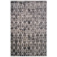 Cancun Collection Black and Gray Diamond Pattern Area Rug