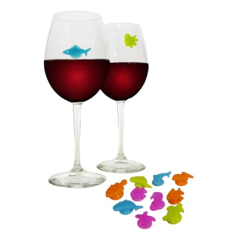 Epicureanist Sea Buddies Multicolor Silicone Wine Charms (Set of 24)