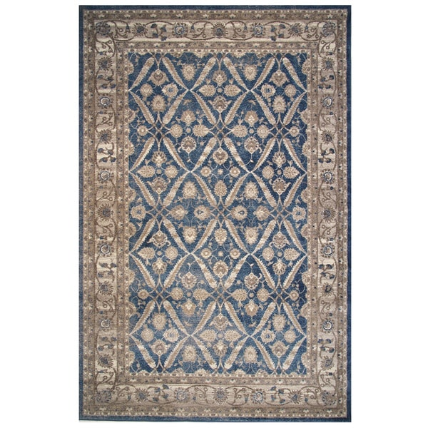 Vintage Collection Pale Blue and Cream Floral Oriental Rug