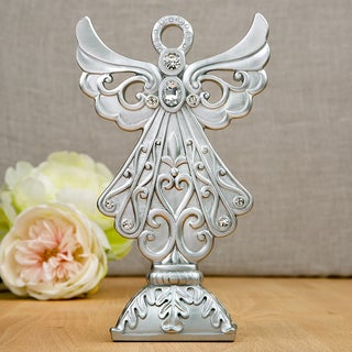 Silver Angel Polyresin Centerpiece and Cake Topper
