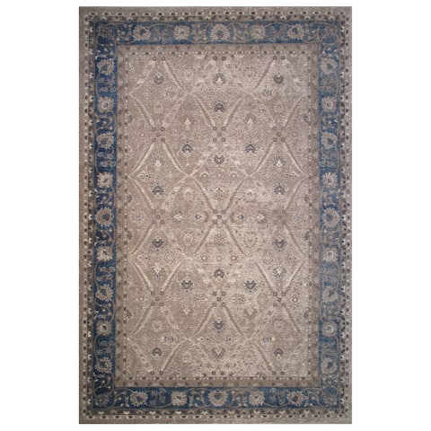 Vintage Collection Blue and Cream Floral Oriental Rug - 5' x 8'