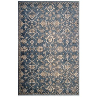 Vintage Collection Blue and Cream Delicate Florals Ornamental Rug 5'x8'