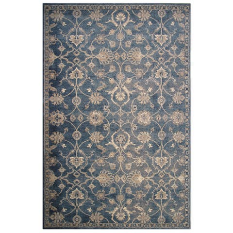Vintage Collection Blue and Cream Delicate Florals Ornamental Rug - 5' x 8'