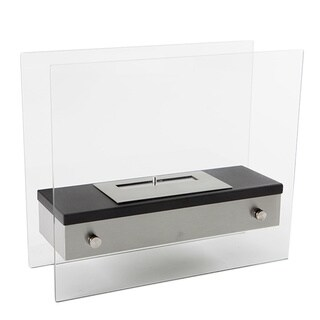 EcoPyro ST-J003 Camden Glass and Stainless Steel Table/Floor Ethanol Fireplace