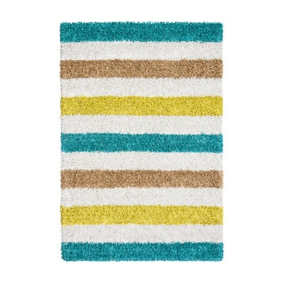 Jani Teal/Blue/Striped Ivory Silky Shag Rug (5' x 7')