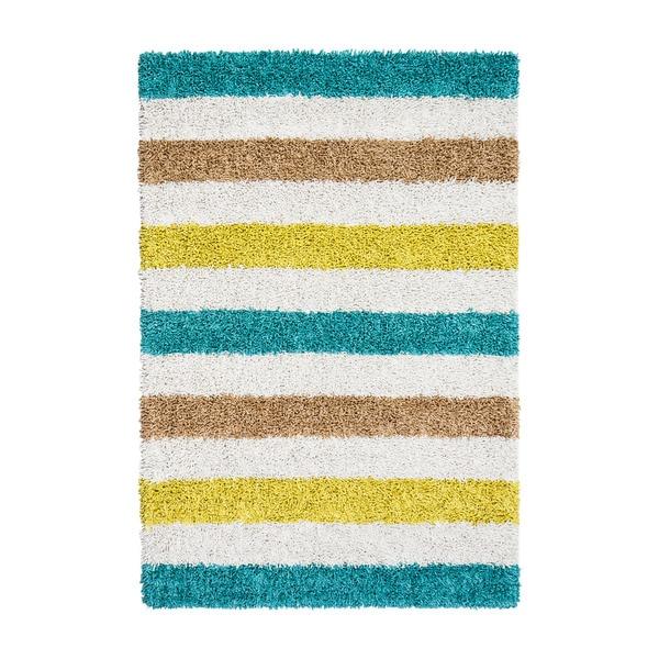 Jani Teal/Blue/Ivory Cotton/Vicose Striped Silky Shag Rug - 8' x 10'