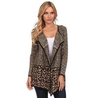 High Secret Women's Polyamide Animal Print Knit Open Front Cardigan