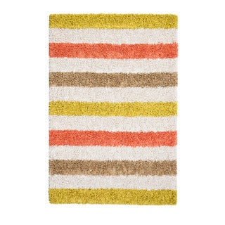 Jani Ivory/Khaki/Orange/Yellow Cotton/Viscose Silky Shag Striped Rug (4' x 6')