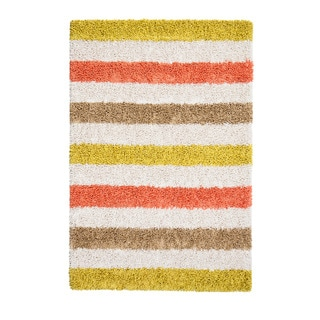 Jani Mustard Yellow/Ivory Cotton/Viscose Striped Rug (8' x 10')