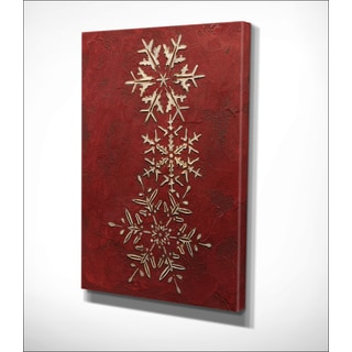Wexford Home 'Snowflakes on Red II' Premium Gallery-wrapped Canvas