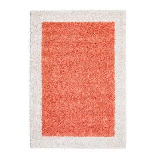 Jani Silky Shag Papaya/Orange/Ivory Cotton and Viscose Border Rug (8' x 10')