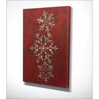 Jane Carroll 'Snowflakes on Red I' Gallery Wrapped Canvas Wall Art