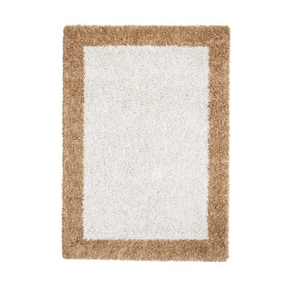 Jani Ivory/Khaki Border Cotton/Viscose Shag Area Rug (5' x 7')