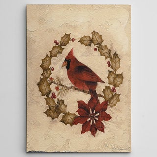 Cardinal in Wreath' Premium Gallery Wrapped Canvas