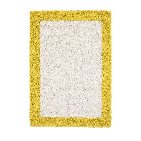 Jani Silky Shag Ivory and Mustard Yellow Border Rug - 8' x 10'