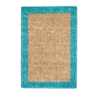 Jani Silky Shag Khaki and Teal Viscose Border Rug (5' x 7')
