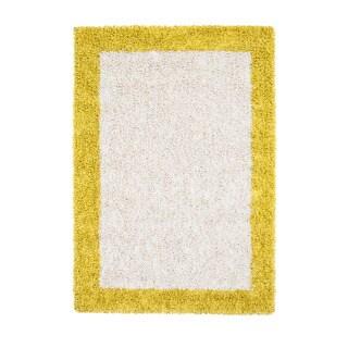 Jani Ivory and Mustard Yellow Border Cotton and Viscose Shag Rug (4' x 6')