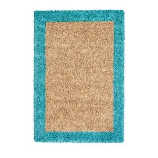 Jani Khaki/Teal Cotton/Viscose Shag Area Rug (4' x 6')