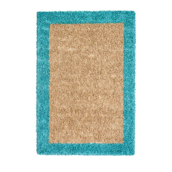 Jani Silky Shag Khaki/Teal Cotton and Viscose Area Rug (8' x 10')