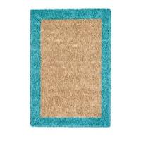 Jani Silky Shag Khaki/Teal Cotton and Viscose Area Rug (8' x 10')